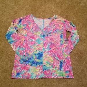 Lilly Pulitzer LUXLETIC long sleeve colorful top S
